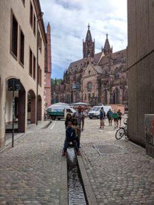 Postureando en una de las acequias callejeras de Friburgo con su catedral al fondo